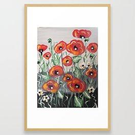 Poppy Poppies Flowers Red Green Design Framed Art Print