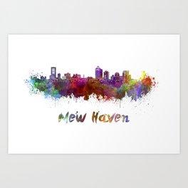 New Haven skyline in watercolor Art Print
