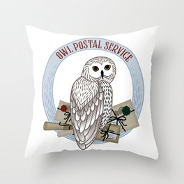 Card with an owl, scrolls and letters on a round frame on a white background. The owl postal service. Throw Pillow