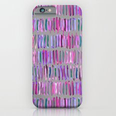 Messy Watercolor Stripes in Pink and Purple iPhone 6s Slim Case