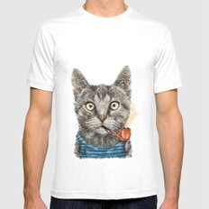 Sailor Cat IX White Mens Fitted Tee MEDIUM