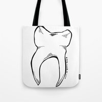 tooth Tote Bags featuring Tooth by Addison Karl