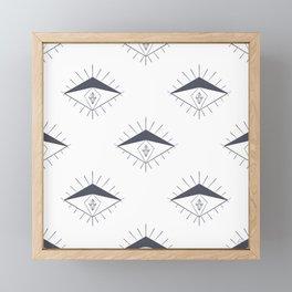 Modern Gray White Diamond Eyes Pattern Framed Mini Art Print