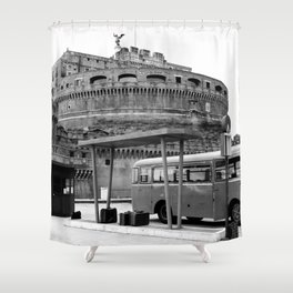 Castel Sant Angelo between past and present B/N Shower Curtain