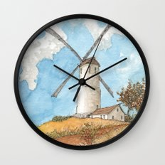 Windmill Against a Blue Sky Wall Clock