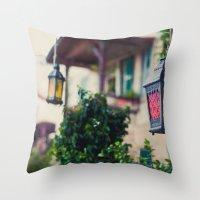 lanterns Throw Pillows featuring lanterns by De's Fantastical Creations
