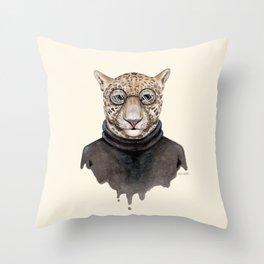 J is for a Jaguar Just Hangin' Out | Watercolor Jaguar Throw Pillow