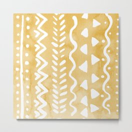Loose bohemian pattern - yellow Metal Print