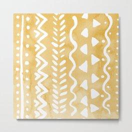 Loose bohemian pattern - yellow Metal Print