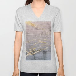 Watercolor Gradient Gold Foil IV Unisex V-Neck