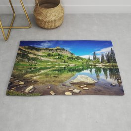 Clear Mountain Lake Reflections Rug