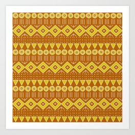 Mudcloth Style 2 in Burnt Orange and Yellow Art Print