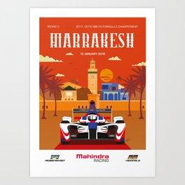 Mahindra Racing FIA Formula E Season 4 Marrakesh E-Prix Poster Art Print