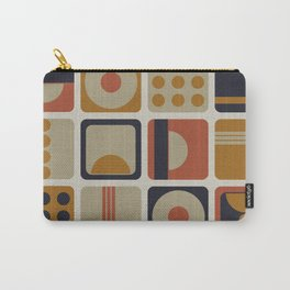 Retro Geometrical Minimalist Squares Carry-All Pouch