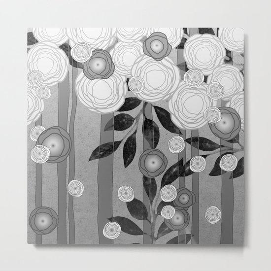 Black and White Flowers Design Metal Print