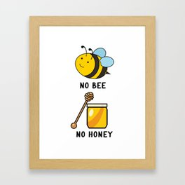 No Bee No Honey Funny Bees Quote Framed Art Print
