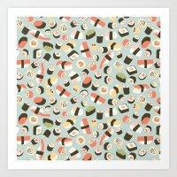 novelty Art Prints featuring Yummy Sushi! by Eine Kleine Design Studio