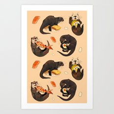 Tiny otters and their sushi Art Print