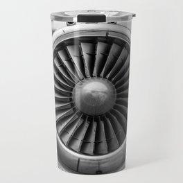 Vintage Airplane Turbine Engine Black and White Photographic Print Travel Mug