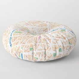 Watercolor map of Paris Floor Pillow