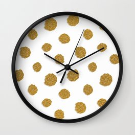 Golden touch III - Gold glitter effect polka dot pattern Wall Clock