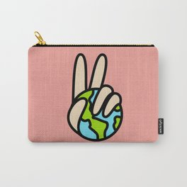 World Peace Planet Earth Symbol V Sign Carry-All Pouch