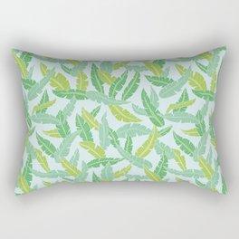 Green tropical plant leaves on light blue background Rectangular Pillow