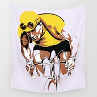 cycling Wall Tapestries featuring The yellow jersey (retro style cycling) by aapshop