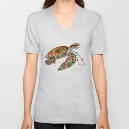 Sea Turtle, Brown, Olive green Pink Shades Unisex V-Neck