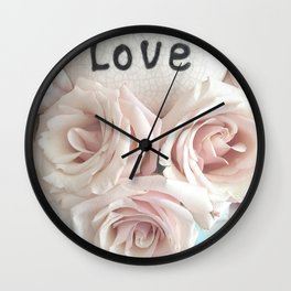 Shabby Chic Romantic Pink Roses Love Print Home Decor Wall Clock