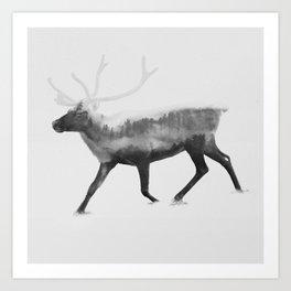 Cervus Elaphus (Deer & Forest) BW Art Print