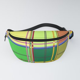 Caribbean Colorful Fabric Madras Tartan Fanny Pack