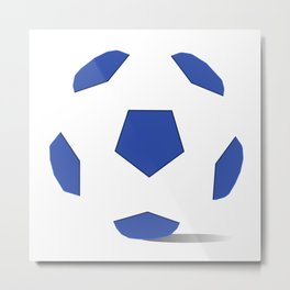 Football image in dazzling blue and white space Metal Print