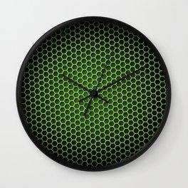 Honeycomb Background Green Wall Clock