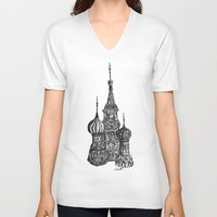 moscow V-neck T-shirts featuring Moscow by Name