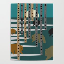 Bears walking in the forest Poster