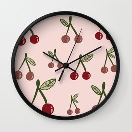 Cute Cherry Pattern Design - Seamless and Fun Wall Clock