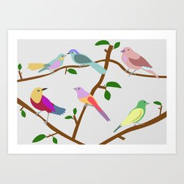 Birds on a tree Art Print