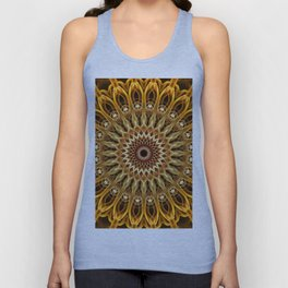 Golden and brown floral mandala Unisex Tank Top