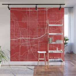 Des Moines Map, USA - Red Wall Mural
