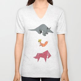 origami-Animal pattern Unisex V-Neck