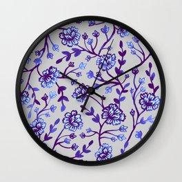 Watercolor Peonies - Periwinkle Wall Clock