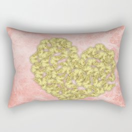 Gold butterflies heart and peach texture Rectangular Pillow