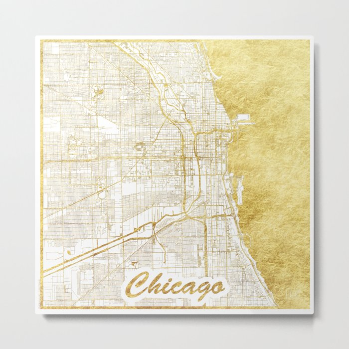 Chicago Map Gold Metal Print
