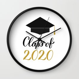 Class of 2020 lettering with graduation cap and tassel. Congratulations to graduates.  Wall Clock