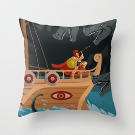 odysseus fighting Scylla and Charybdis Greek mythology monsters Throw Pillow