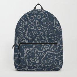 Indigo Mandala Flower Pattern, Bohemian Art Backpack