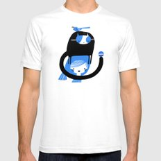 BLUE BIRD AND CAT ON HEAD White Mens Fitted Tee SMALL