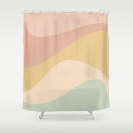 Abstract Color Waves - Neutral Pastel Shower Curtain