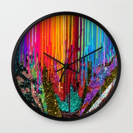 Peacock Mermaid SUNSET Abstract Geometric Wall Clock